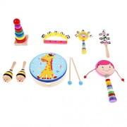 HATCHMATIC Baby Instruments Combination Wooden Percussion Set Toys Rhythm Band Value Set Girls Gift Child Toy Kids Music Sense Training Fun: Girl 8pcs Set