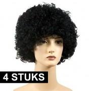Merkloos 4x Zwarte Piet pruiken voordelig voor volwassenen - Verkleedpruiken
