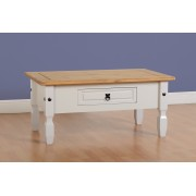 Corona 1 Drawer Coffee Table - Grey/Distressed Waxed Pine
