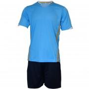 Футболен екип, фланелка с шорти светло синьо и черно