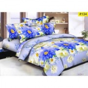 Luxmi Beautiful Blue flowers Design 3D Double Bed sheets With 2 Piilow covers - Multicolor