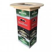 [pro.tec] Tablero de mesa para cajas de cerveza - mesa alta - mesa de bar - madera auténtica (ø 70 x 10 cm)