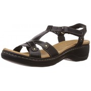 Clarks Women's Hayla Flute Black (Fit D) Leather Fashion Sandals - 7 UK