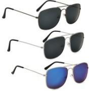 Phenomenal Retro Square Sunglasses(Black, Green)