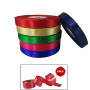 De-Ultimate Multicolor 1 Inch Width Satin Ribbons Roll of 18 Meter for Decorations Gift Wrapping Craftworks With Freebie