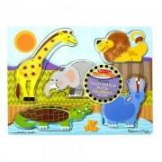 Дървен тектилен пъзел Животните от зоологическата градина 5 части Melissa and Doug, 000772143288