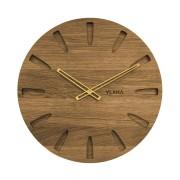 Velké dubové hodiny VLAHA vyrobené v Čechách se zlatými ručkami VCT1020