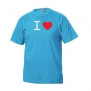geschenkidee.ch I Love T-Shirt Männer Hellblau, Grösse XL