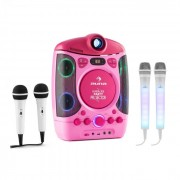 Kara Projectura pink + Dazzl Mic Set Karaokeanlage Mikrofon LED-Beleuchtung