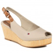 Еспадрили TOMMY HILFIGER - Iconic Elba Sling Back Wedge FW0FW04788 Stone AEP