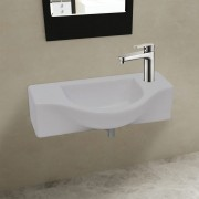 vidaXL Chiuvetă de baie din ceramică, gaură pentru robinet și preaplin, alb