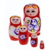 Hand Painted Wooden Nesting Dolls | Russian Doll Set of 5 - by Sihi Creation (Color May Vary)