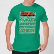 Nintendo Christmas Zelda Pattern Men's T-Shirt - Kelly Green - XXL - Kelly Green