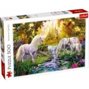 Puzzle peisaj cu cai si unicorni albi in padurea fermecata 500 piese