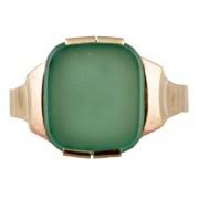 Zlatý pánský prsten se zeleným chryzoprasem
