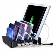 Docking Station 4 Porte USB Ricarica Smartphone e Tablet Nero