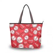 ZOEO Mujer Bolsas Tote Tapón de Botella de Cola Blanca roja Bolsas Deportivas Ecológicas Tote Moda para Madre Bolso de Hombro de Dama