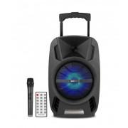 """Astrum TM081 """"Trolley"""" hordozható bluetooth hangszóró 8.0"""", 30W, FM, USB, MicroSD, színes LED világítás, mikrofon"""