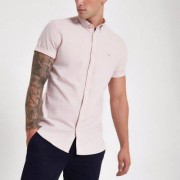River Island Mens Pink wasp embroidered Oxford shirt - Size XXL (EU)