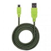 Manhattan Cavo Micro USB Guaina Intrecciata USB2.0 A M/MicroB M 1m Nero/Verde