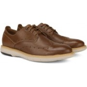 Clarks Flexton Wing Tan Leather Sneakers For Men(Tan)