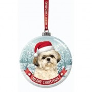 Santa Paws Fout kerstkado dieren kerstbal 7 cm hond Shih Tzu