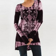 Vestido Casual E-Thinker con estampados de dibujos y cuello redondo - Violeta
