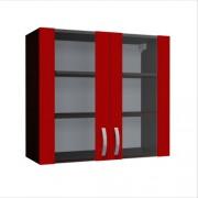 Corp superior vitrina 80 cu 2 usi Zebra rosie