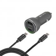 4smarts Fast Car Charger Set iPD - зарядно за кола с USB-C кабел за устройства с USB-C порт (черен)