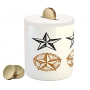 Texas Star Coin Box Bank by Ambesonne, Vintage Western Stars Antique Hand Drawn Illustration Stripes, Printed Ceramic Coin Bank Money Box for Cash Saving, Black White and Pale Brown