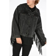 Vetements LEVI STRAUSS Giubbotto in Denim Con Frange in Pelle taglia Xs