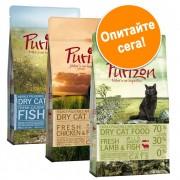 Смесена пробна опаковка: Purizon 3 x 2,5 кг суха храна за котки - Пиле и риба + Патица и риба + Елен и риба
