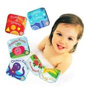 BabyBibi Floating Baby Bath Books. Kids Learning Bath Toys. Waterproof Bathtime Toys for Toddlers. Kids Educational Infant Bath Toys. (Set of 4: Fruit