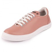 Fausto Women's Pink Lace Up Sneakers Casual Shoes
