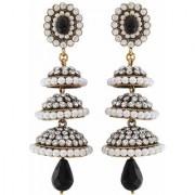 Maayra 3 Victiorian Jhumkas in one Earrings Black White Jhumki Wedding Festival Jewellery