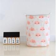 Container - Tas - Wasmand - Speelgoed mand - Wolken, Roze