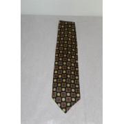 Cravata print geometric mustar si rosu anii '80
