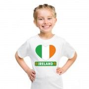 Bellatio Decorations Ierland hart vlag t-shirt wit jongens en meisjes