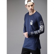 29K Navy Printed Full Sleeves Round Neck T-Shirt For Men