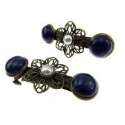 Set clame de par cu lapis lazuli si perle