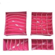 Kanha Set of 4 Foldable Drawer Dividers, Storage Boxes,Innerwear Storage Box, Closet Organizers, Under Bed Organizer, for Clothing, Shoes, Underwear, Bra, Socks (Pink)(Pink)