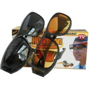 BIKE MOTORCYCLE CAR RIDING HD WrapNight Club Night Real Club Night View Driving NV Best Quality Glasses In Best Price Pack Of 1 (Set Of 2 Glasses) (AS SEEN ON TV) (BLACK YELLOW)