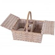 Picknickkorb-Set für 4 Personen, Picknicktasche, Porzellan Glas Edelstahl, Holz ~ Variantenangebot