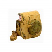 [Fujifilm Instax Mini 8 Case] - Protección Integral Instax Mini 8 Estuche De Cámara Bolsa Con PU Suave Material De Cuero MULBA M67 Map Brown