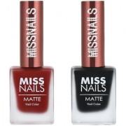 Miss Nails Red Alert Black again Matte Series nail Polish combo pack 10 ml each