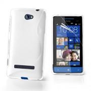 HTC 8S Силиконов Калъф Бял + Протектор