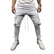 Legou Pantalones de chándal para Hombre con Bolsillos de Carga, Blanco, Aisa M(US S)