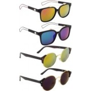 NuVew Round, Wayfarer Sunglasses(Blue, Golden, Green, Green, Violet, Pink)