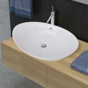 vidaXL Chiuvetă din ceramică ovală cu preaplin 59 x 38,5 cm