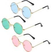 Elligator Round Sunglasses(Blue, Pink, Green)